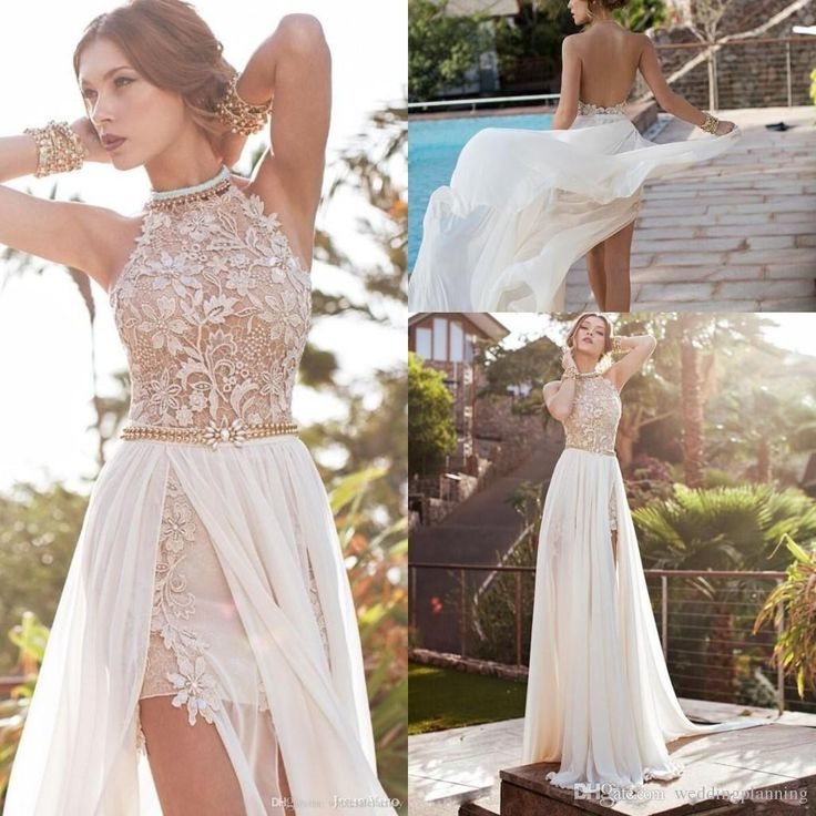 2015 Hot Cheap Luxury Under 100 Prom Party Dresses Sleeveless High Neck Wed Gowns Backelss Split Side Evening Wedding Sexy Women Prom Dress