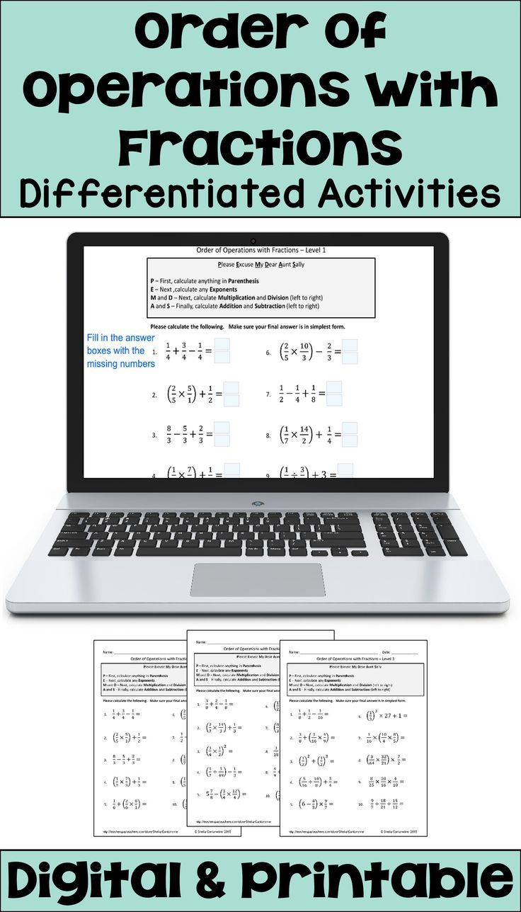 Order of Operations with Fractions Worksheets with