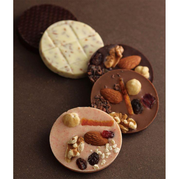 ショコラ専門店<ベルアメール>からお届けする、オリジナルの丸い板チョコレート。【バレンタインデー届け専用】パレショコラ トラディション(5枚入)