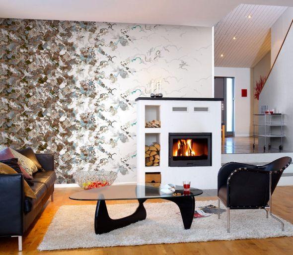 Стильный асимметричный дизайн гостиной