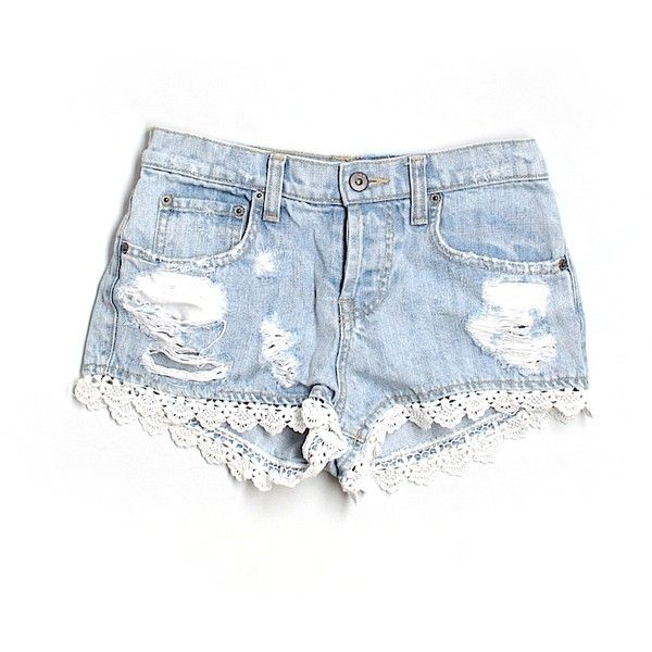 Pre-owned Car Mar Denim Shorts ($24) ❤ liked on Polyvore featuring shorts, bottoms, jeans, light blue, light blue shorts, denim shorts, light blue denim shorts, jean shorts and short jean shorts