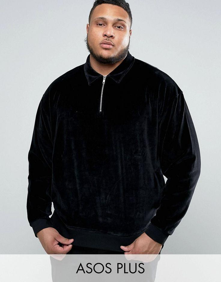 ASOS PLUS Oversized Sweatshirt with Half Zip and Collar In Velour - Bl