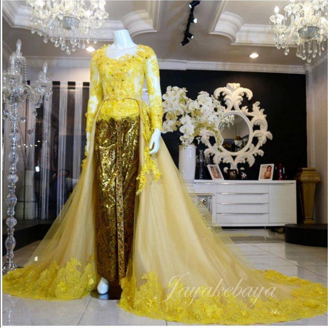 wedding dress kebaya modern yellow 2016