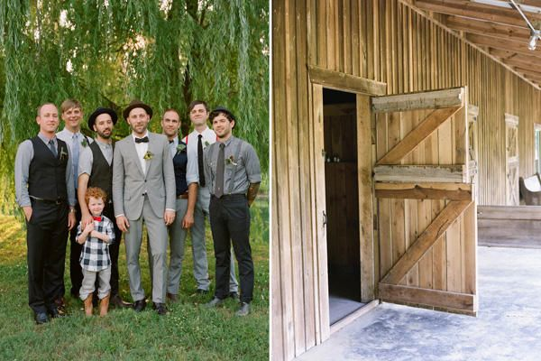 Mismatched grey groomsmen, no jacket - rustic/vintage but groom in full grey suit. For E.