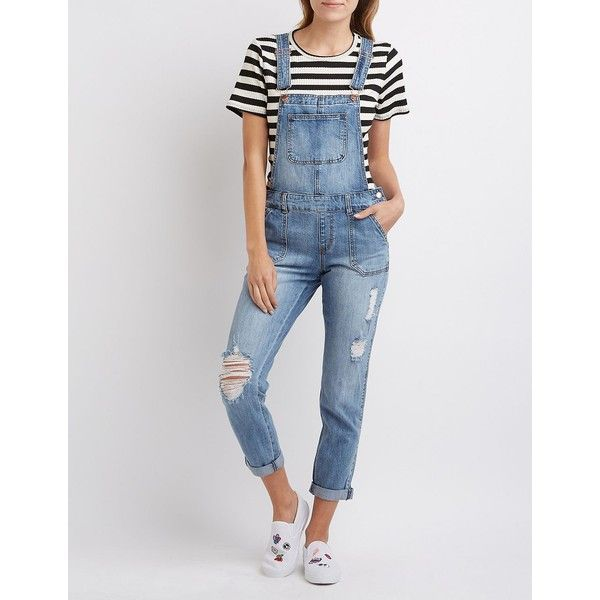 Refuge Distressed Denim Overalls ($40) ❤ liked on Polyvore featuring jumpsuits, medium wash denim, distressed overalls, shorts overalls, short overalls, bib overalls and overalls jumpsuit