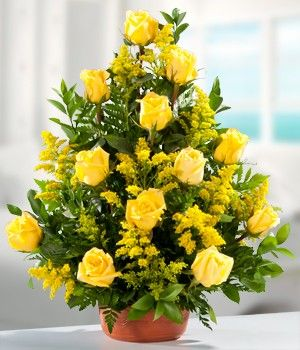 Bouquet of beautiful yellow roses,