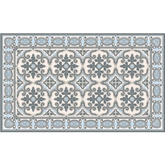 tapis vinyl jaffa pale blue 70 x 180 cm beija flor. Black Bedroom Furniture Sets. Home Design Ideas