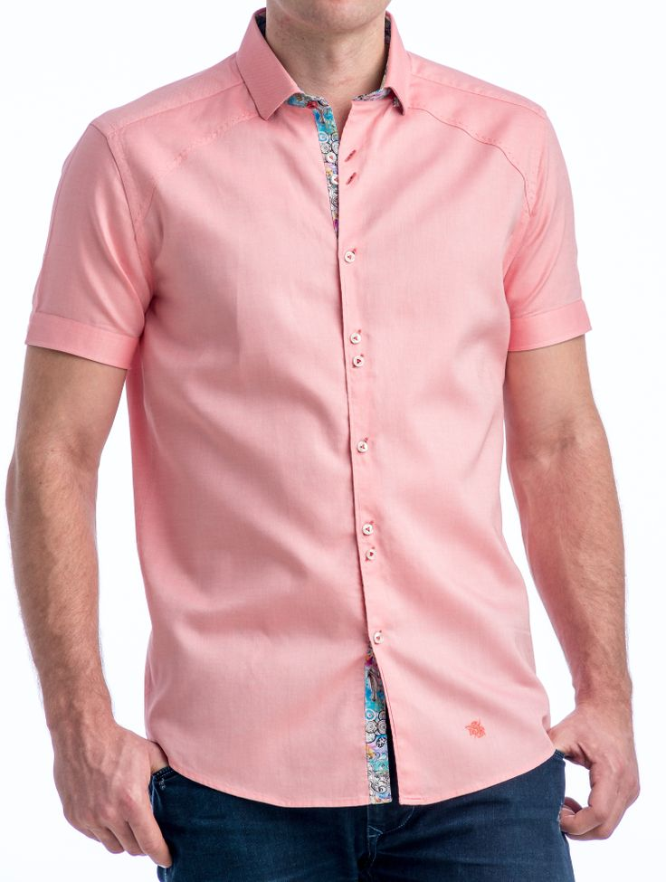 Mens coral short sleeve dress shirt is shirt for Coral shirts for guys