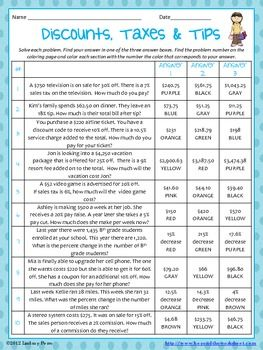 Percent Discount Taxes And Tips Coloring Worksheet Middle School