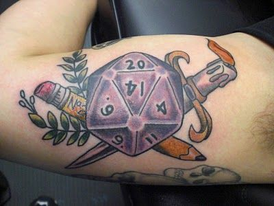 Dungeons & Dragons tattoo #d20 #d #dice please tell me our husbands will never do this! Nerds @Rachael Henson