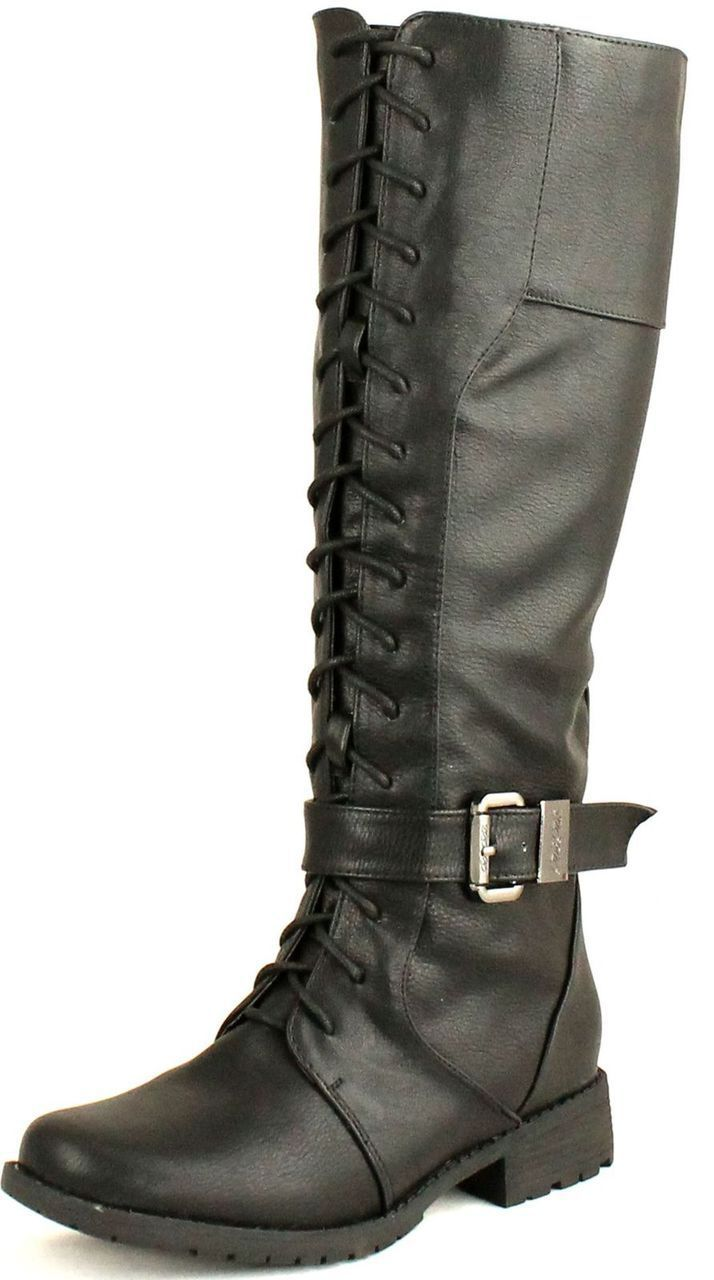 Dbdk Womens Calcia-6 Round Toe Knee High Combat Riding Boots With Side Zipper