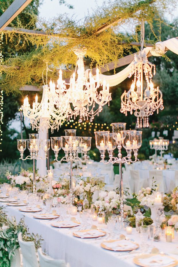 Glass Candelabra Wedding Centrepieces