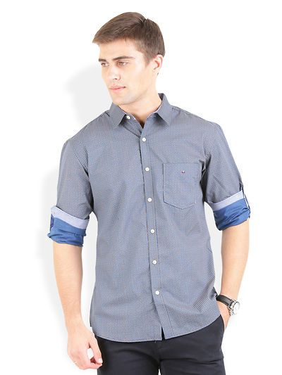 8c733062fd Blue Cotton Printed Casual Shirt | glowroad | Casual shirts, Mens ...