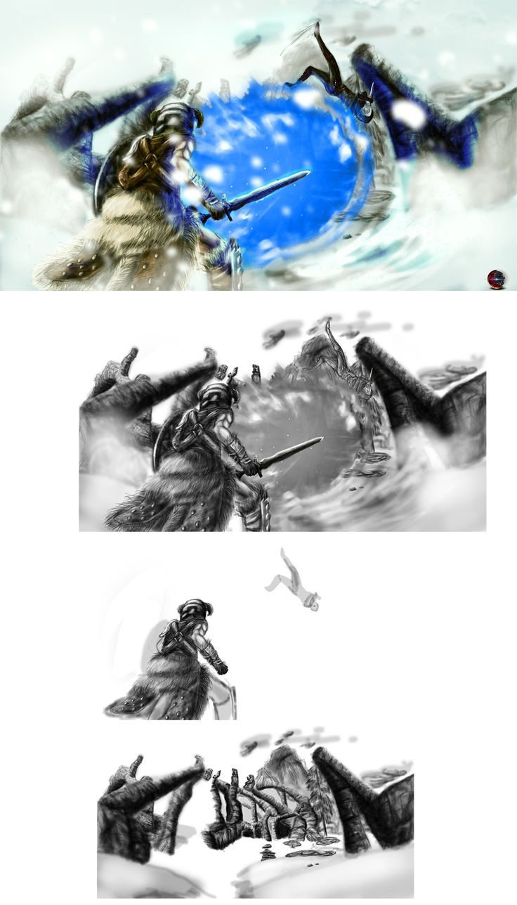 """""""Skyrim Battle"""" Skyrim fanart, client requested to make a scene between the dragon born and the dark brotherhood!"""