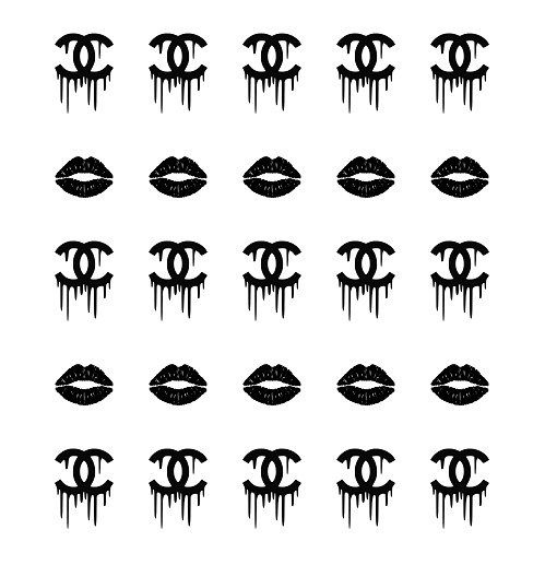 black lips amp chanel drip logo nail decals by