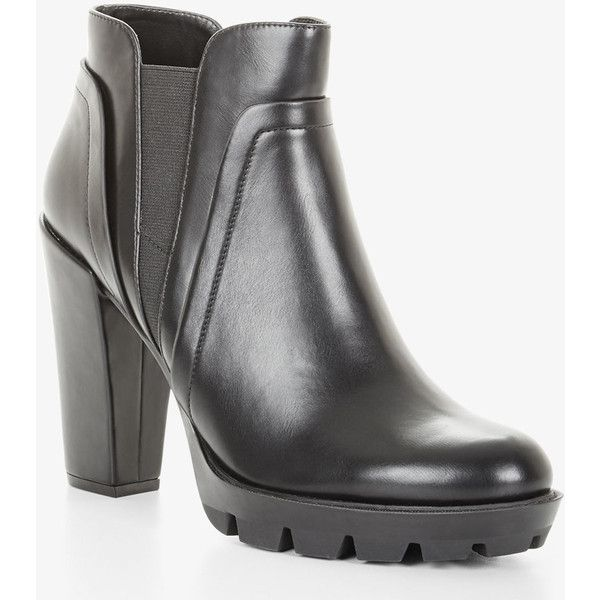 BCBGeneration Lug Sole Ankle Boots ($138) ❤ liked on Polyvore featuring shoes, boots, ankle booties, black, chunky heel boots, black ankle bootie, thick heel booties, chunky heel bootie and black ankle booties