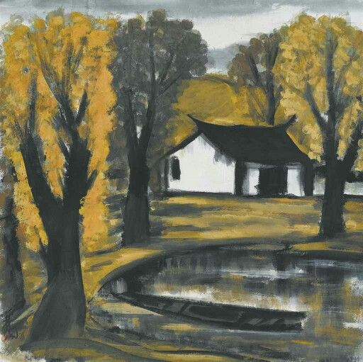 LIN FENGMIAN (1900-1991) House by the Lake in Autumn