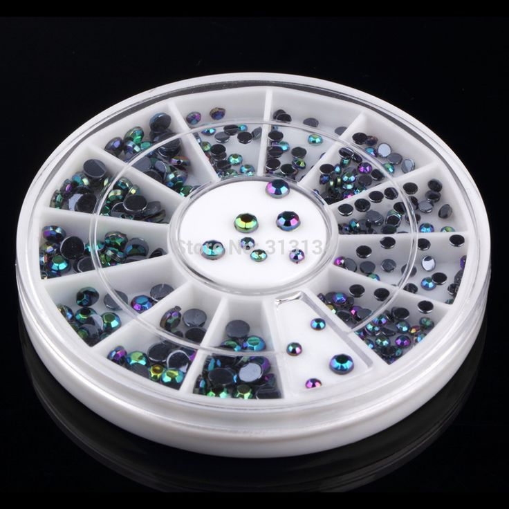 300 pz/set 3D charm Nail Art Tips Wheel Gemme Di Cristallo Glitter Strass Manicure Del Chiodo Decorazione di Arte del chiodo Accessori nail strumenti