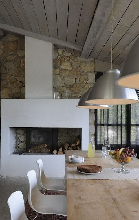 rustic white interior - stone and bleached wood, industrial lighting and contemporary chairs