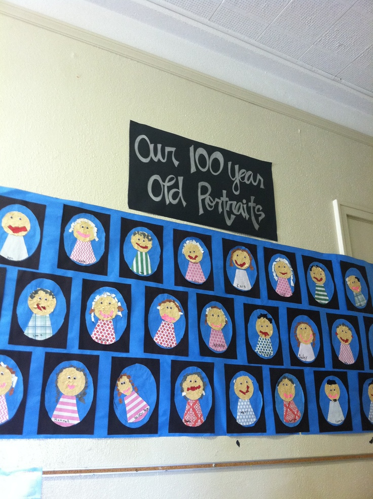 100 year old portraits idea from  http://mrsjumpsclass.blogspot.com/2012_01_01_archive.html  You can buy Deanna Jump's Day 100 packet at   http://www.teacherspayteachers.com/  Awesome ideas and very easy to implement