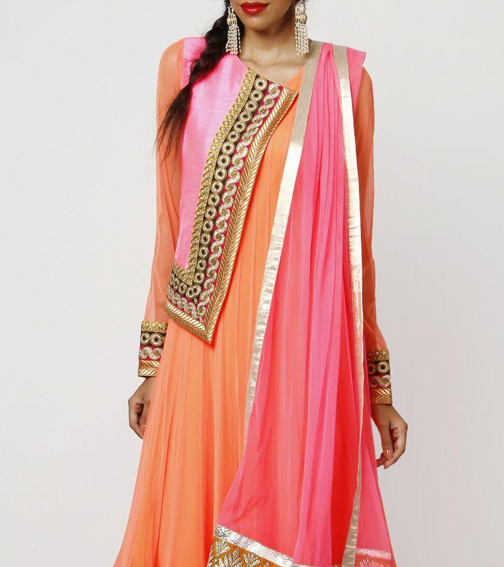 Orange Net & Raw Silk Sharara-love the combination!