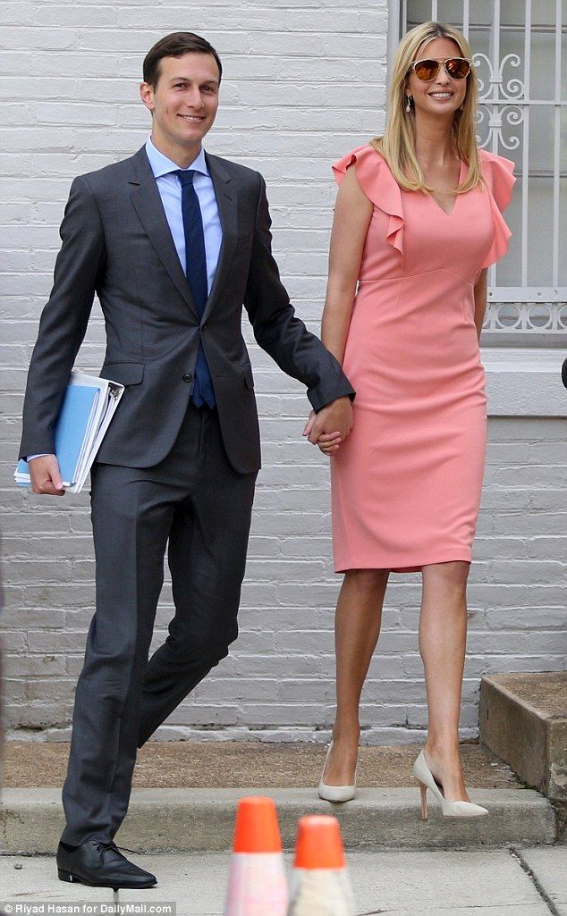 All smiles: Ivanka Trump and her husband Jared Kushner were photographed leaving their home. Peach coral ruffled sleeveless dress, heels, shades, sunglasses, June 22 2017