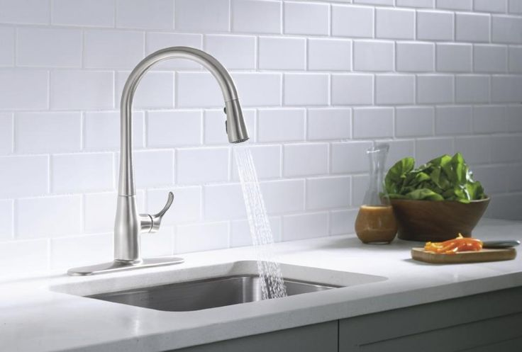 Interior Cool Kitchen Decoration With Rectangular White Tile Kitchen Backsplash Along With Curved Stainless Steel Kitchen Sink Faucets decorated kitchen interior with new kitchen sink design Kitchen design