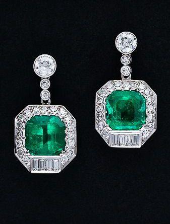 Art Deco 12 Carat Emerald and Diamond Earrings c. 1930's