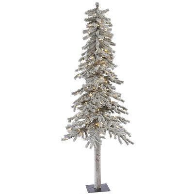 The Holiday Aisle Flocked Alpine 7' White Artificial Christmas Tree with 300 LED White Lights with Stand