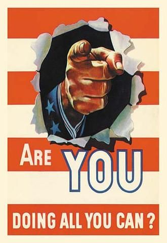 Actual World War 2 propaganda (original art) created by the government to encourage all Americans to support the war effort by doing everything they can to help