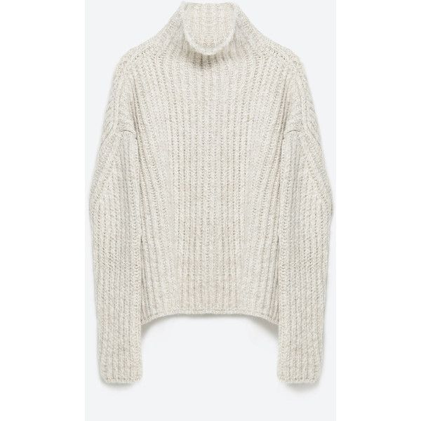 Zara High Neck Sweater (2270 TWD) ❤ liked on Polyvore featuring tops, sweaters, natural, zara sweaters, white sweater, white top, zara top and high neck top