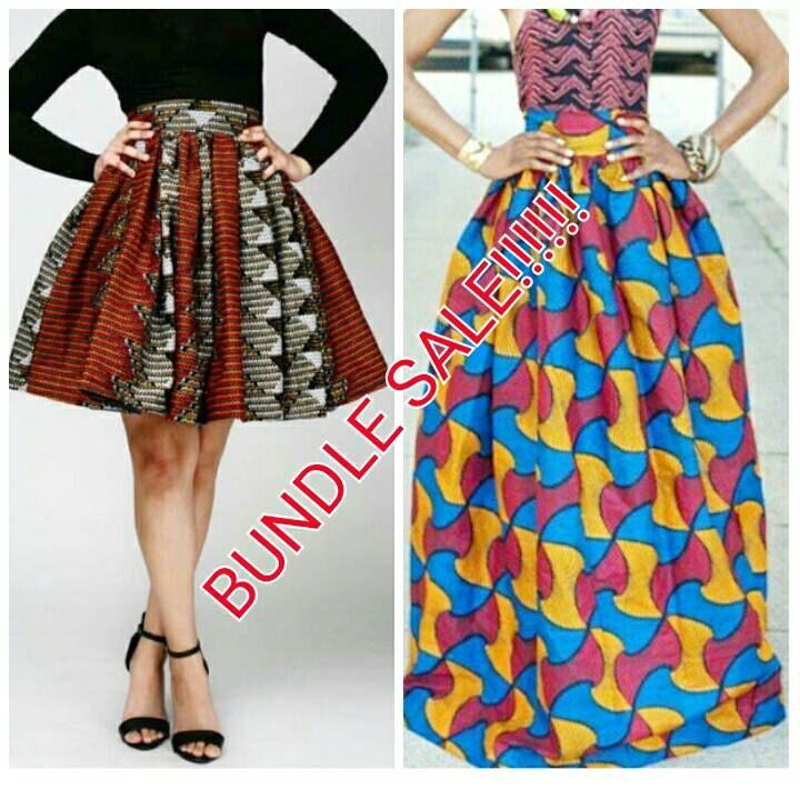 Afrikaanse Print Midi en Maxi rok bundel verkoop door Zizibespoke