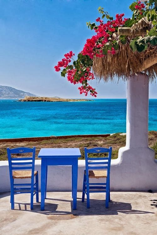 Inspiration....arbor, bouganvilla, french blue and white soooo pretty. Koufonissi Island, Greece