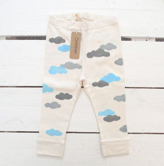 Clouds handprinted organic baby leggings by OncleHope on Etsy, $25.00: