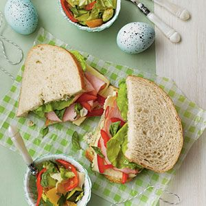 Kimberly Schlegel Whitmans' Afternoon Easter Party | Menu: Sandwiches and Sides | SouthernLiving.com: Easter Parties, Southern Living, Lunches Menu, Easter Spr, Sourdough Sandwiches, Afternoon Easter, Hams And Fontina Sourdough, Sandwiches Recipe, Easter Ideas