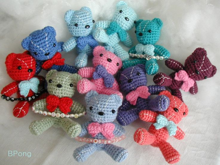 Personalised crochet teddy bear, amigurumi bear with message by BPong on Etsy
