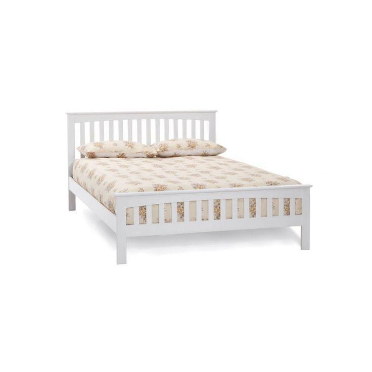 Białe drewniane łóżko do sypialni Muto