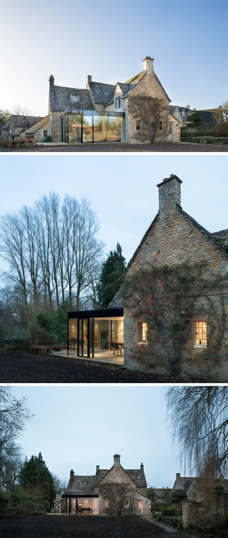 14 Examples Of British Houses With Contemporary Extensions | A traditional stone house got a contemporary extension built from glass windows and black steel that created a modern dining area still connected to the rest of the stone home.