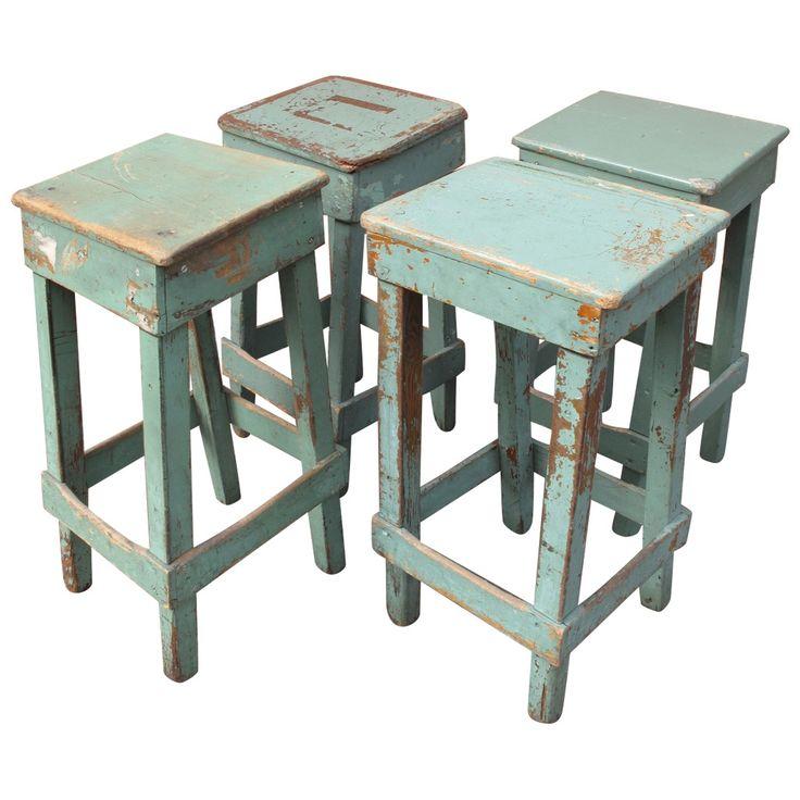 Set Of Four Primitive Handmade Stools Stools Modern