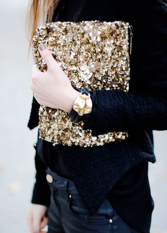 all gold sequin clutch