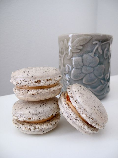 Earl Grey Salted Caramel Macarons * Shell - Earl grey tea * Filling - Tea infused salted caramel, with and without cream cheese