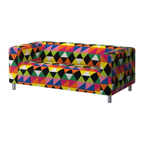 IKEA - KLIPPAN, Bezug 2er-Sofa, Randviken bunt, , Leicht sauber zu halten - der abnehmbare Bezug kann in der Maschine gewaschen werden.