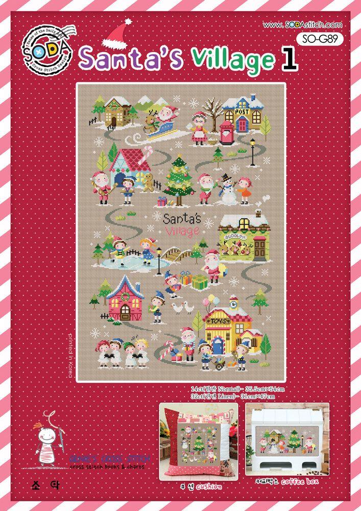The Santa's village 1 -  Cross stitch pattern leaflet. Big Chart. SODA SO-G89 by GeniesCrossstitch on Etsy https://www.etsy.com/listing/256392171/the-santas-village-1-cross-stitch