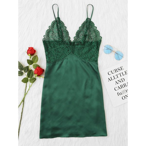 SheIn(sheinside) Scalloped Lace Panel Cami Nightdress (€10) ❤ liked on Polyvore featuring intimates, green, green lingerie, lace insert cami, green cami, lacy lingerie and lace camis