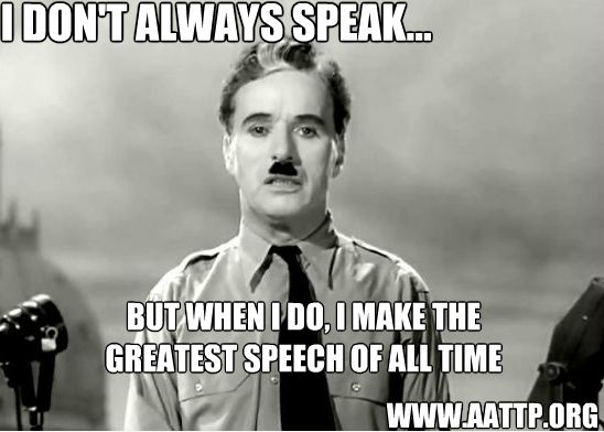 """THIS IS AMAZING  The Greatest Speech Ever Given By A Comedian (Video)---- The Film, """"The Great Dictator"""" was Charlie Chaplin's first true speaking role, and it was written, produced, composed, and directed by Chaplin himself. This is"""