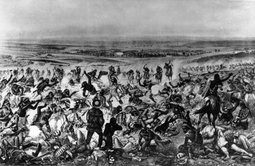 Custers Last Stand Or The Battle Of The Little Bighorn. Custer is in the center dressed in buckskins.