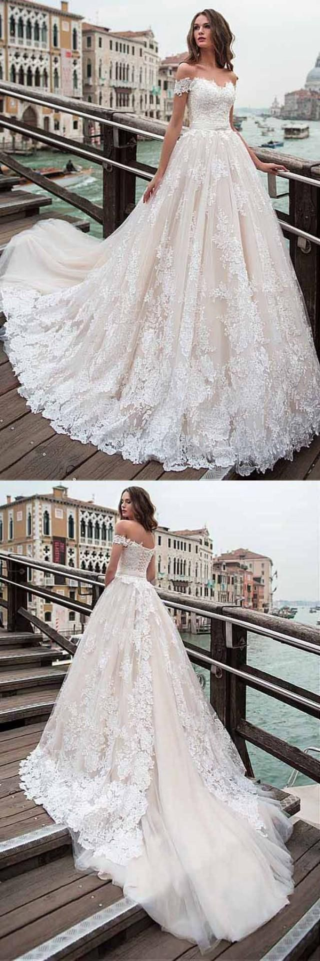 Romantic white lace wedding dressoff shoulder aline bridal dress