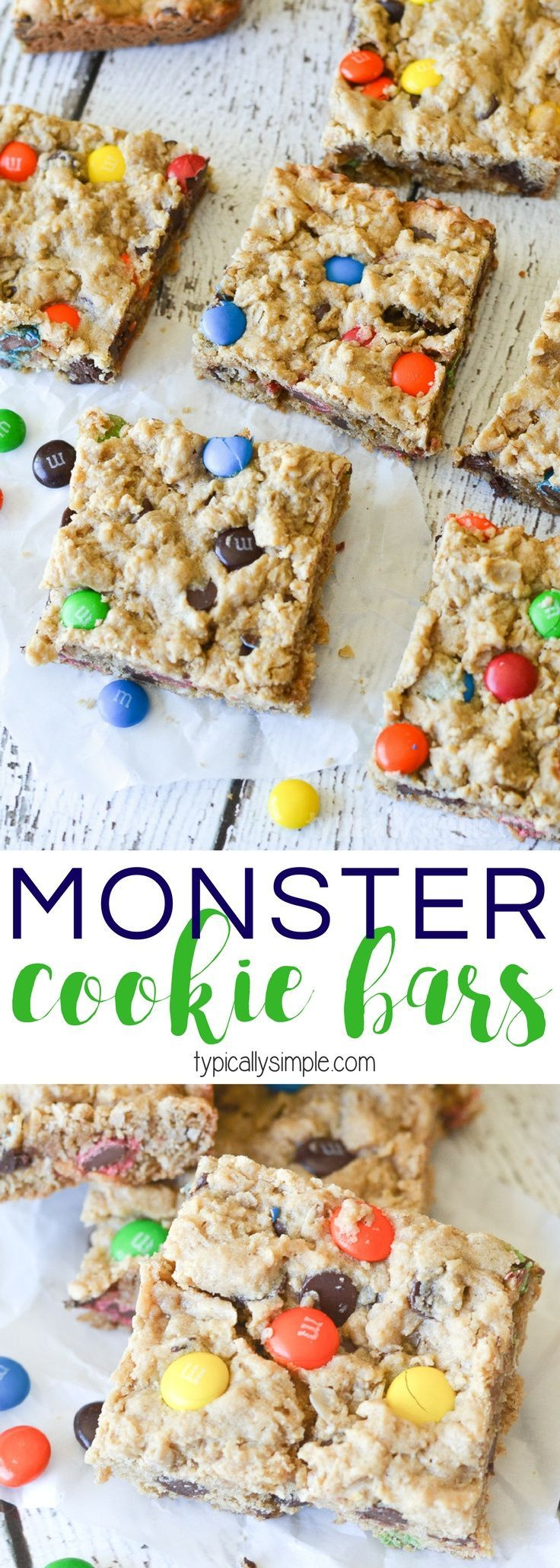 These Monster Cookie Bars are SO delcious - packed full of yummy chocolate chips and M&M's and just the right amount of soft and chewy texture!