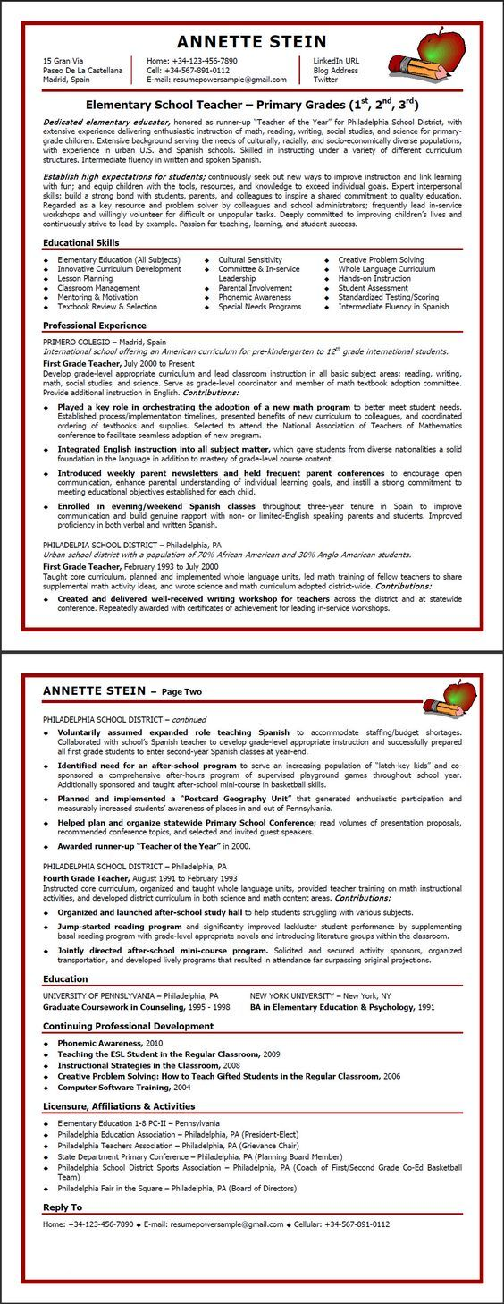 Sample Teaching Resumes for Preschool | this resume is the copyrighted property of resumepower com the resume ...