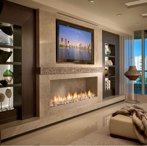 Pin by andre parks on shelves led home decor fireplace - Modern fireplace living room design ...